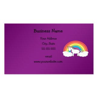Regalos púrpuras del unicornio del arco iris tarjetas de negocios