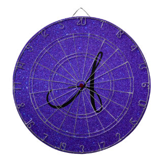 Regalos púrpuras oscuros del monograma del brillo tablero de dardos