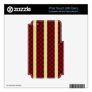 Regalos rayados de Borgoña de pescados del oro iPod Touch 4G Calcomanía