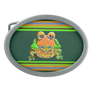 Regalos rayados verdes anaranjados de la novedad d hebilla cinturon oval