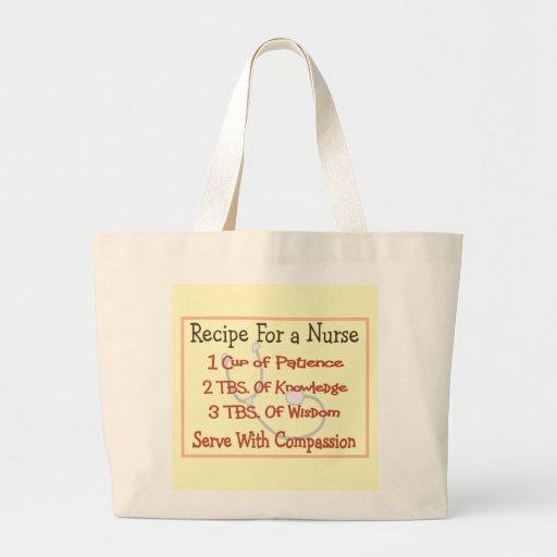 """Regalos """"receta de la enfermera para una enfermera bolsas de mano"""