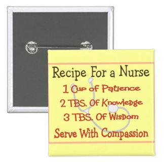 """Regalos """"receta de la enfermera para una enfermera pin cuadrada 5 cm"""
