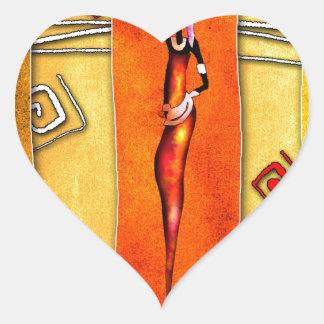 Regalos retros 01 del estilo del vintage de África Calcomanía De Corazón