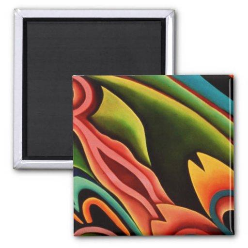 Regalos retros de la tela del arte abstracto del e imán cuadrado