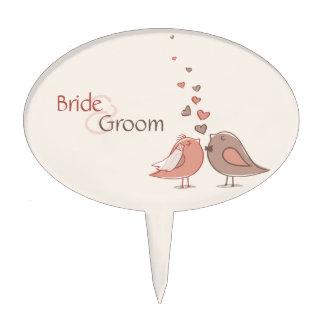 Regalos retros de los pájaros de novia y del novio figuras de tarta