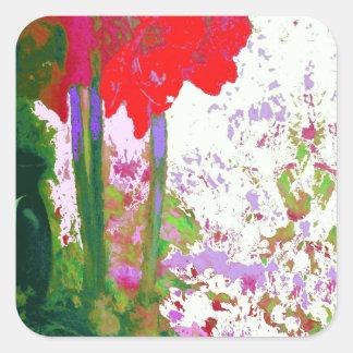 Regalos rojos de Plany del Amaryllis por Sharles Pegatina Cuadrada