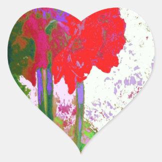 Regalos rojos de Plany del Amaryllis por Sharles Pegatina En Forma De Corazón