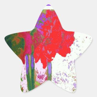 Regalos rojos de Plany del Amaryllis por Sharles Pegatina En Forma De Estrella