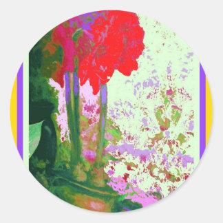 Regalos rojos de Plany del Amaryllis por Sharles Pegatina Redonda