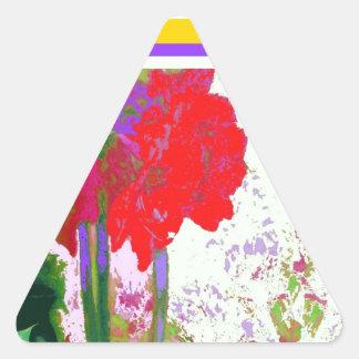 Regalos rojos de Plany del Amaryllis por Sharles Pegatina Triangular