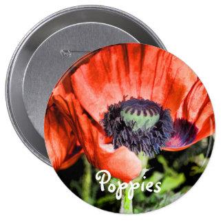 Regalos rojos del arte de la flora de las amapolas pin redondo 10 cm