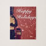 Regalos rojos del navidad del cascanueces rompecabezas con fotos