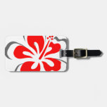 Regalos rojos del tema de Hawaii del hibisco Etiqueta Para Equipaje