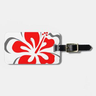 Regalos rojos del tema de Hawaii del hibisco Etiqueta Para Maleta