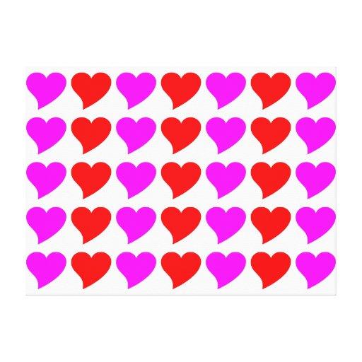 Regalos románticos de los chicas: Corazones rosado Lona Envuelta Para Galerias