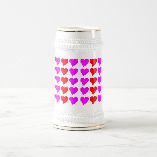 Regalos románticos de los chicas: Corazones rosado Jarra De Cerveza
