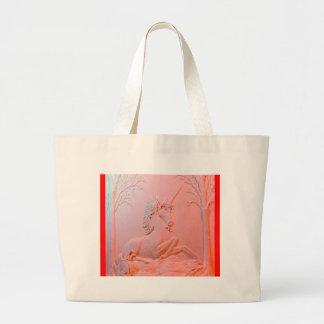 Regalos rosáceos tallados del unicornio por Sharle Bolsas De Mano