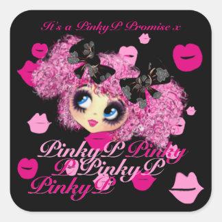 Regalos rosados de la promesa del chica de Kawaii Pegatina Cuadrada