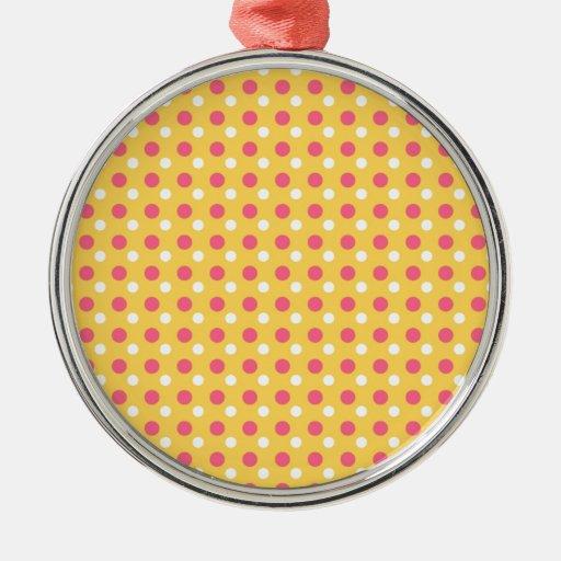 Regalos rosados del modelo de lunar del amarillo adorno navideño redondo de metal
