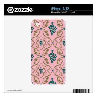 Regalos rosados del modelo del jardín de las uvas iPhone 4 calcomanía