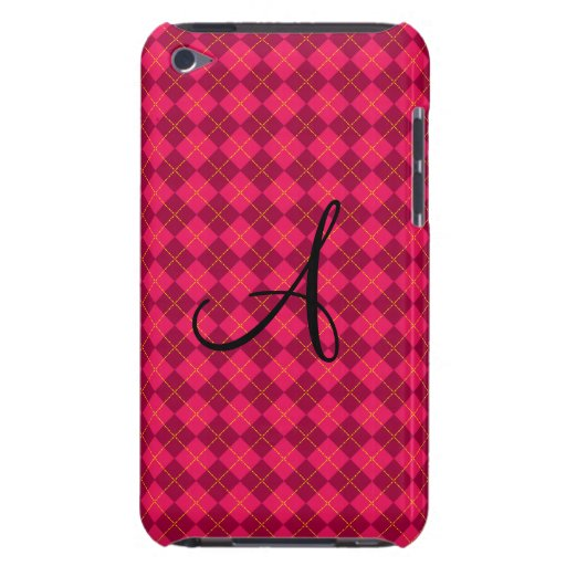 Regalos rosados del monograma del argyle iPod touch protector