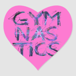 Regalos rosados del personalizado de Gymanstics Pegatina En Forma De Corazón