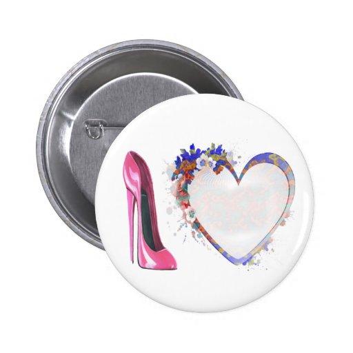 Regalos rosados del zapato y del corazón del estil pin redondo 5 cm