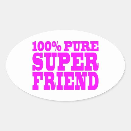 Regalos rosados frescos para los amigos: Amigo Pegatina Ovalada