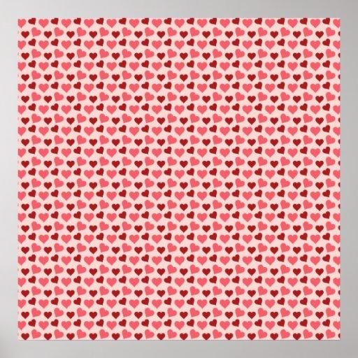 Regalos rosados y rojos del modelo de los corazone póster
