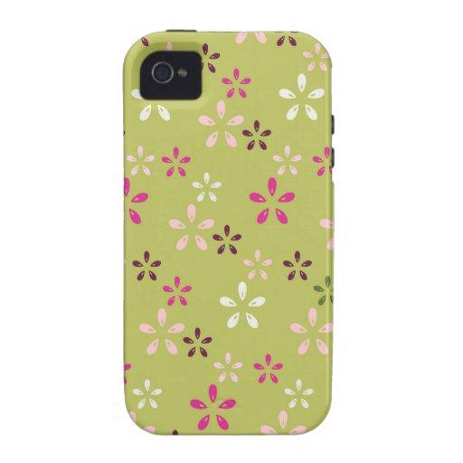 Regalos rosados y verdes del estampado de plores b iPhone 4/4S carcasa