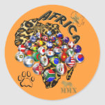 Regalos salvajes del futbol del estilo del safari etiqueta redonda