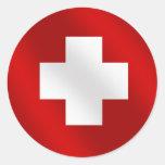 Regalos suizos básicos de Suisse de la bandera par Etiqueta Redonda