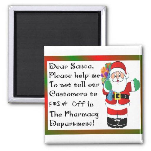 Regalos temáticos del navidad del farmacéutico imán cuadrado