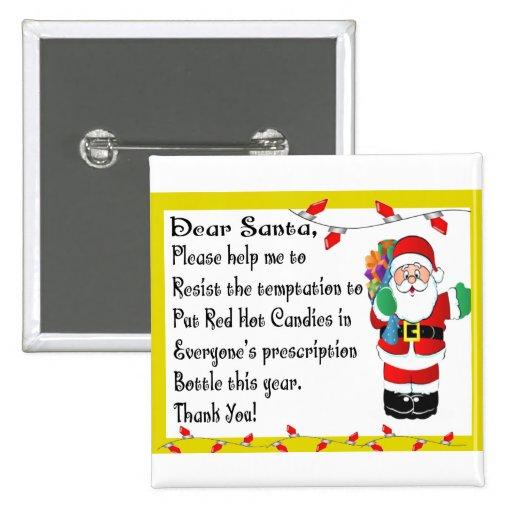 Regalos temáticos del navidad divertido del farmac pin cuadrado