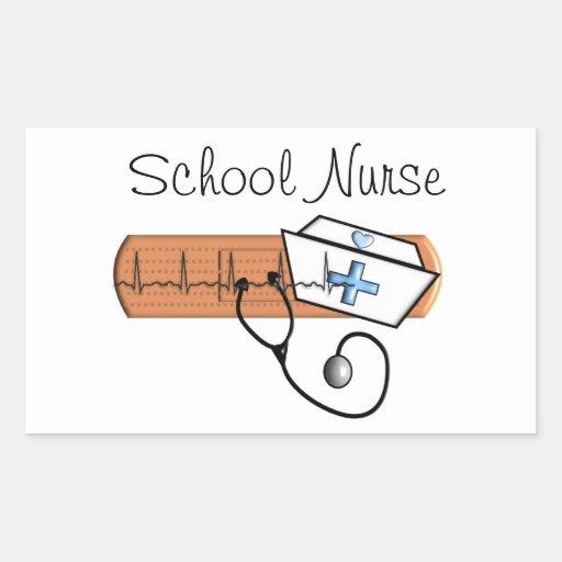 Regalos únicos de la enfermera de la escuela pegatina rectangular