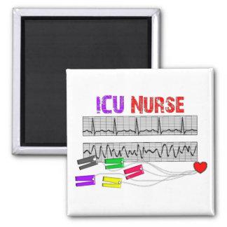 Regalos únicos de la enfermera del diseño ICU Imán Cuadrado