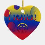 Regalos venezolanos: Hola/Hola + Cara sonriente Adorno Navideño De Cerámica En Forma De Corazón
