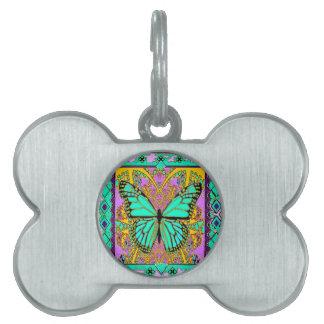 Regalos verdes de la mariposa de monarca de la placa de nombre de mascota