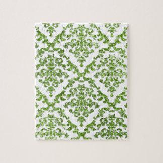 Regalos verdes del modelo del damasco puzzles