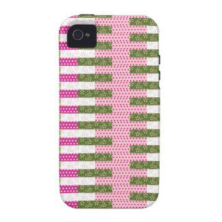 Regalos verdes rosados bonitos del diseño del edre Case-Mate iPhone 4 carcasa