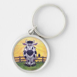 Regalos y accesorios de la vaca llavero redondo plateado