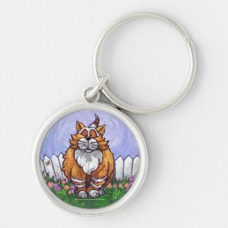 Regalos y accesorios del gato del jengibre llavero redondo plateado