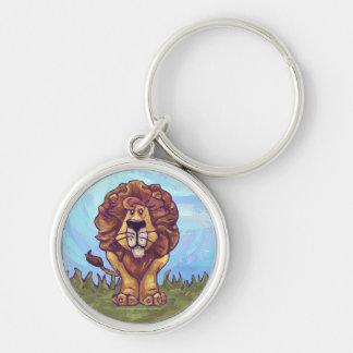 Regalos y accesorios del león llavero redondo plateado