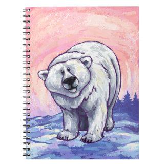 Regalos y accesorios del oso polar libros de apuntes con espiral