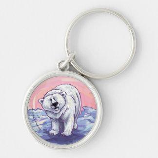 Regalos y accesorios del oso polar llavero redondo plateado