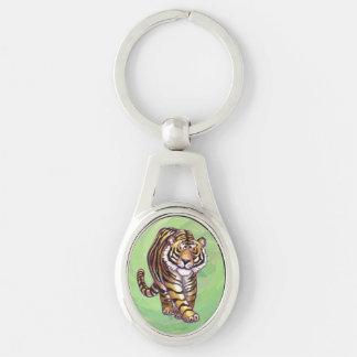 Regalos y accesorios del tigre llavero plateado ovalado