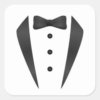 Regalos y apoyos de boda del smoking para el novio pegatina cuadrada