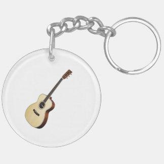 """Regalos y productos """"de la guitarra acústica"""" llavero redondo acrílico a doble cara"""