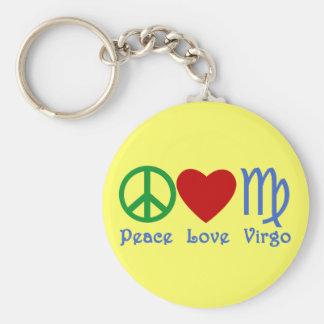 Regalos y productos del virgo del amor de la paz llavero redondo tipo pin
