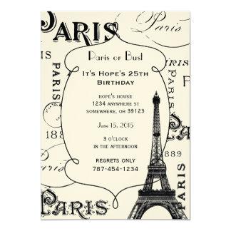 """Regalos y recuerdos de París Francia Invitación 5"""" X 7"""""""